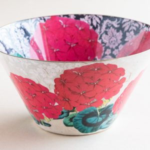 Decoupage Glass Bowl red geranium internal