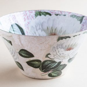 Decoupage Glass Bowl white lilly