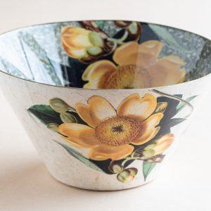 Decoupage Glass Bowl yellow cotton tree flowerinternal