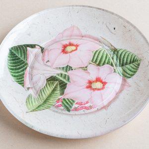 decoupage glass plate pink dipladenia