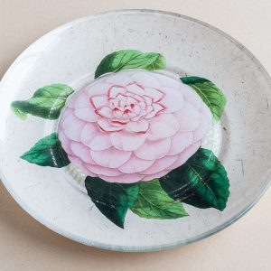 decoupage  glass plate pink rose