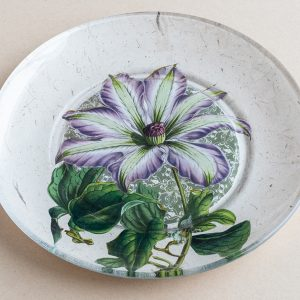 decoupage  glass plate purple clematis