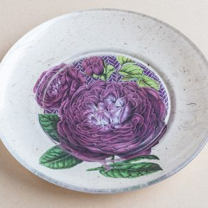 decoupage  glass plate purple rose