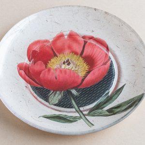 decoupage  glass plate red poppy