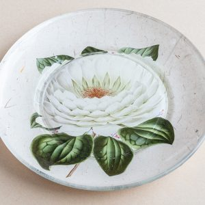 decoupage glass plate white lilly