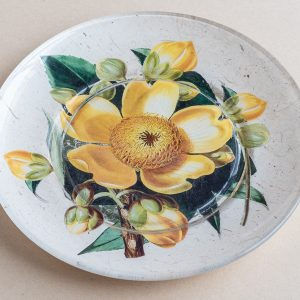 decoupage glass plate yellow cotton tree flower