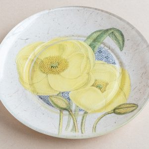 decoupage  glass plate yellow poppy