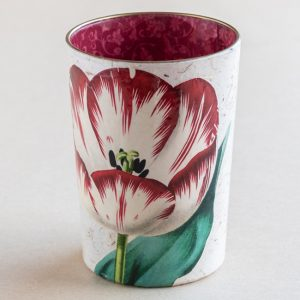 decoupage desk pot glass red tulip