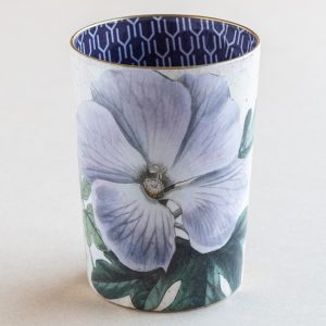 decpoupage desk pot glass purple pansy