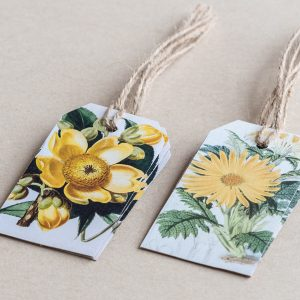 gift tags magnolia / daisy yellow