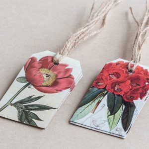 gift tags poppy / rhododendron red