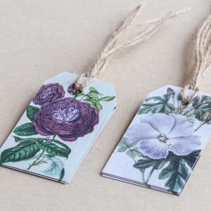 gift tags rose / pansy purple