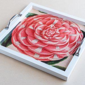 Tea tray camellia pink