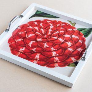 Tea tray camellia red