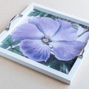 Tea tray pansy purple