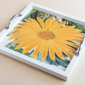 Tea tray daisy yellow