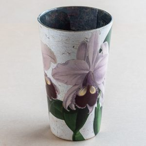 Vase decoupage glass purple orchid botanical