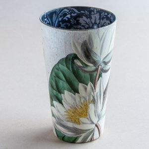 Vase decoupage glass white lillies botanical