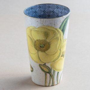 Vase decoupage glass yellow poppy botanical