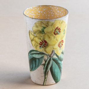 Vse decoupage  glass yellow primrose botanical