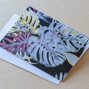 Greeting Card – Leaves Black 01