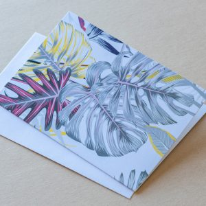 Greeting Card – Leaves White 03