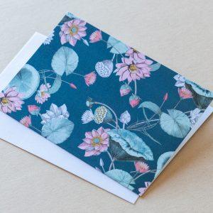 Greeting Card – Lillies Navy 03