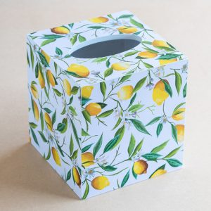 Tissue Box Cover Lemons White