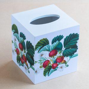 Tissue Box Cover Strawberries White Plain