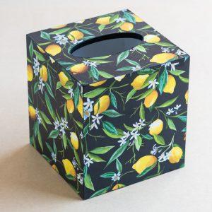 Tissue Box Cover Lemons Black