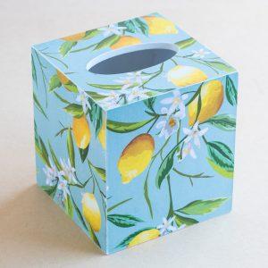 Tissue Box Cover Lemons Blue