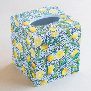 Tissue Box Cover Lemons Black White
