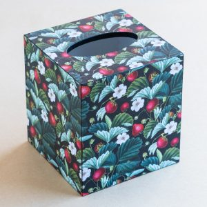 Tissue Box Cover Strawberries Black Multi