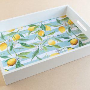 Tray Lemons Turquoise Stripe