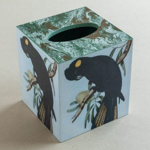Tissue Box Cover Black Parrot Green Marble