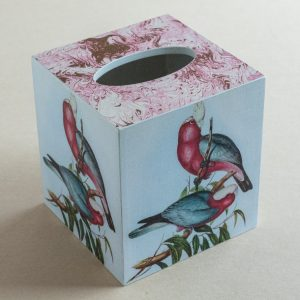 Tissue Box Cover Parrots Pink Marble