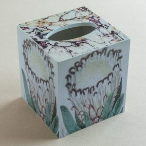 Tissue Box Cover Protea Cream Marble