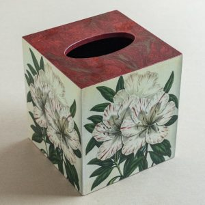 Tissue Box Cover Red White Flower Red Marble