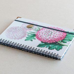 A5 lined notebook – pink chrysanthemum