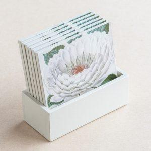 coaster set – white lily