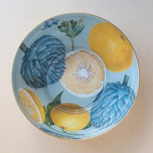 glass bowl – citrus – turquoise – gold leaf