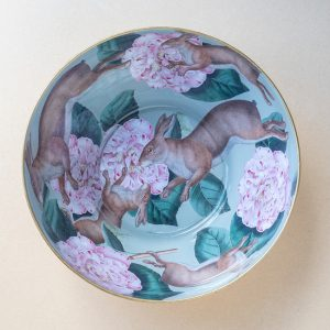 glass bowl – hares – turquoise – gold leaf