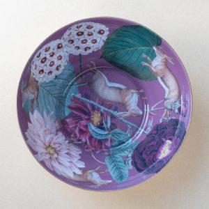 glass bowl – hares – purple – gold leaf