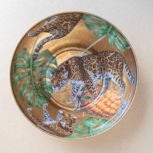 glass bowl – leopard – gold leaf