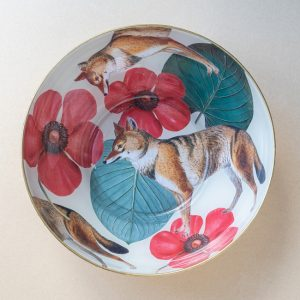 decoupaged glass bowl – fox – red flowers – gold leaf