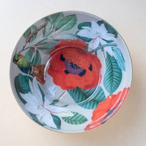 glass bowl – red poppies – Hummingbird – gold leaf
