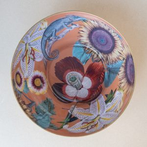 glass bowl – tiger lily – chameleon – gold leaf