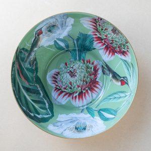 glass bowl – white poppies – hummingbird -gold leaf