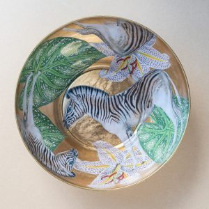 glass bowl – zebra – gold leaf