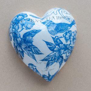 large heart – bird – blue toile